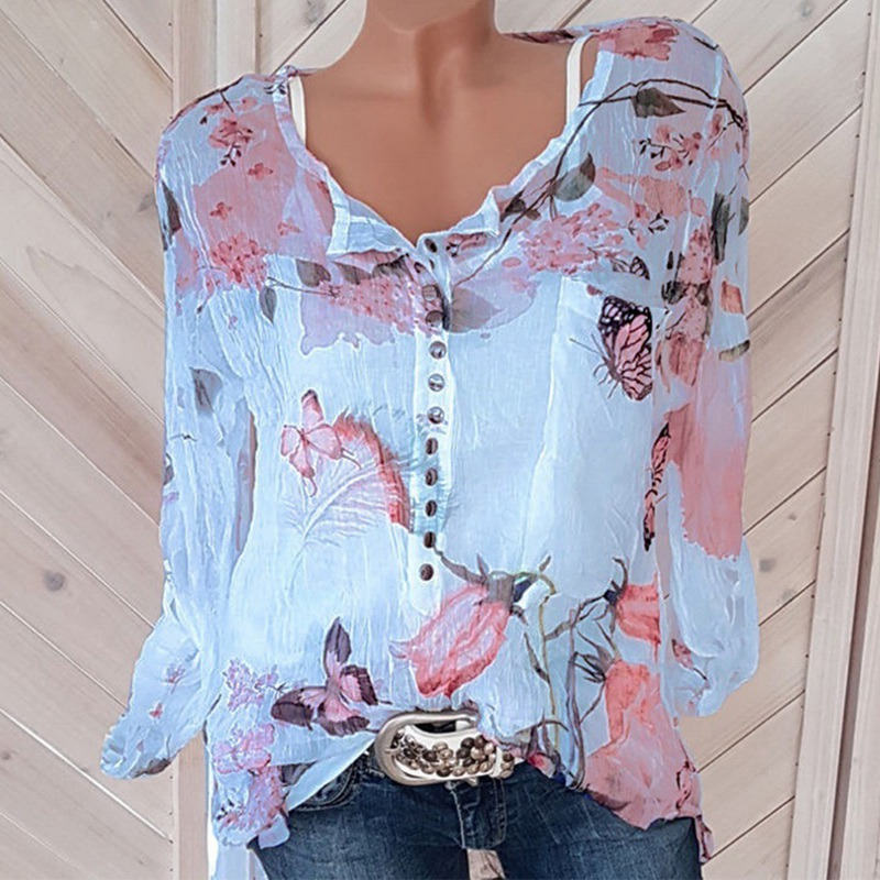 Button Women Shirts Summer Casual V-Neck Chiffon Blouse Women Top Camisa Feminina Long Sleeve Ladies Print Blouse Femme Shirt