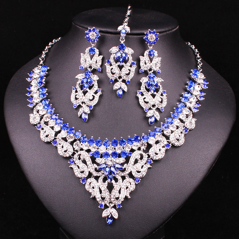 f924bbeb4 Fashion Indian Style Crystal Rhinestones Necklace Earrings Set, Silver  Plated Bridal Jewelry Sets