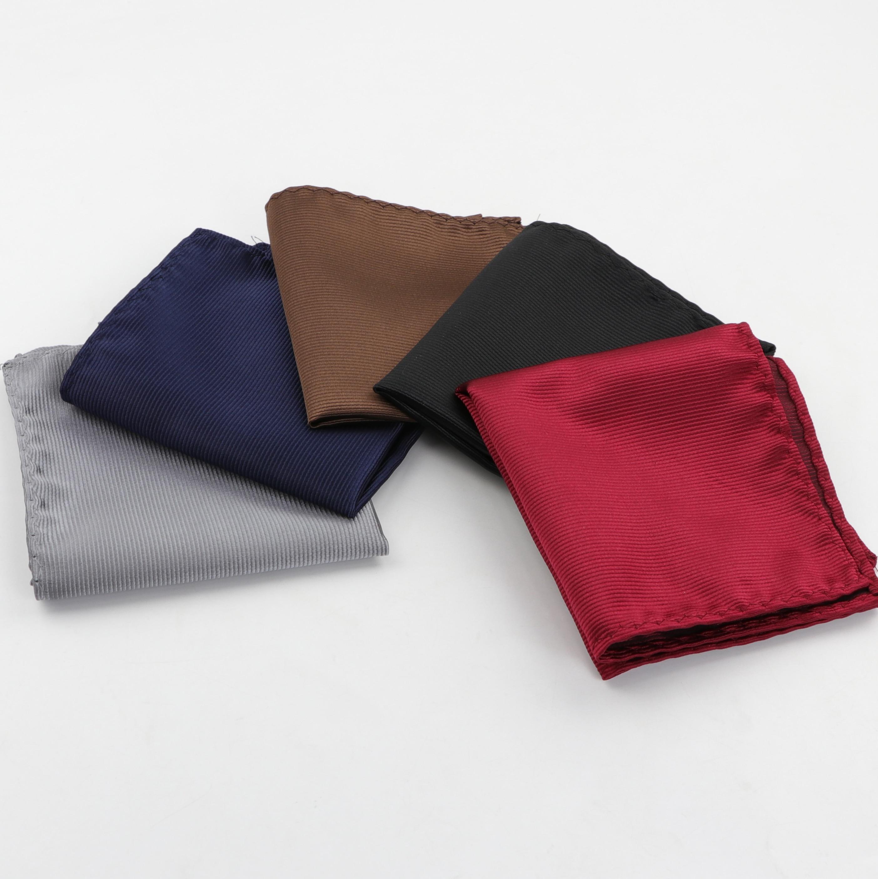 Men Suits Polyester Designer Handkerchiefs Woven Striped Pocket Square Hankies Business Casual Pockets Hanky