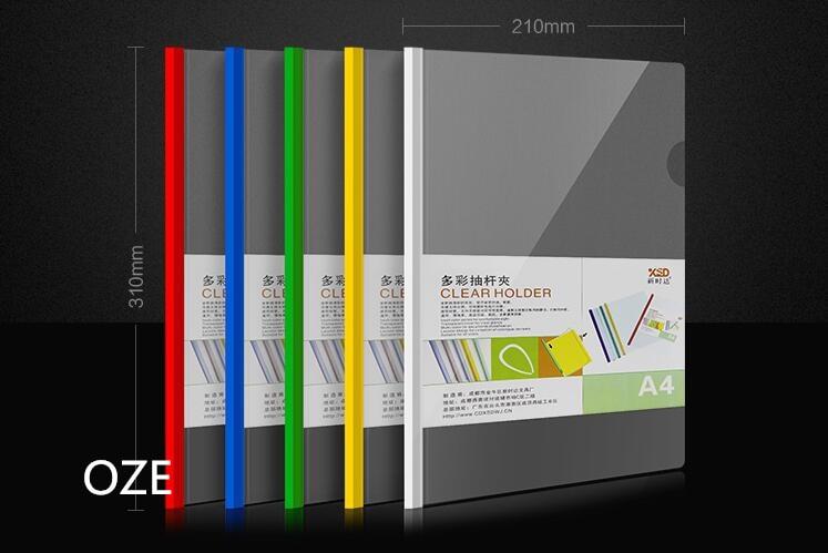 12pcs/set A4 Paper Report Plastic Sliding Bar Cover Strip File Folder Holder Clear