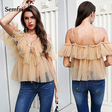 Semfri Mesh Shirt Off Shoulder Women's Tunic 2019 Summer Vintage Ruffle Short Sleeve Elegant Peplum Top Stytlish Female Clothing цены