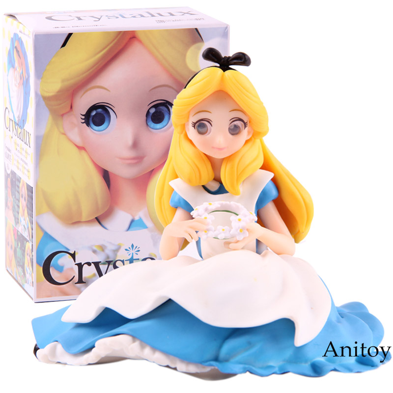 Q Posket Princess Doll Crystalux Alice in Wonderland Figure Action PVC Collectible Model Toy disney 10cm q version snow white princess alice mermaid figure alice in wonderland ariel the little mermaid pvc figure model toy