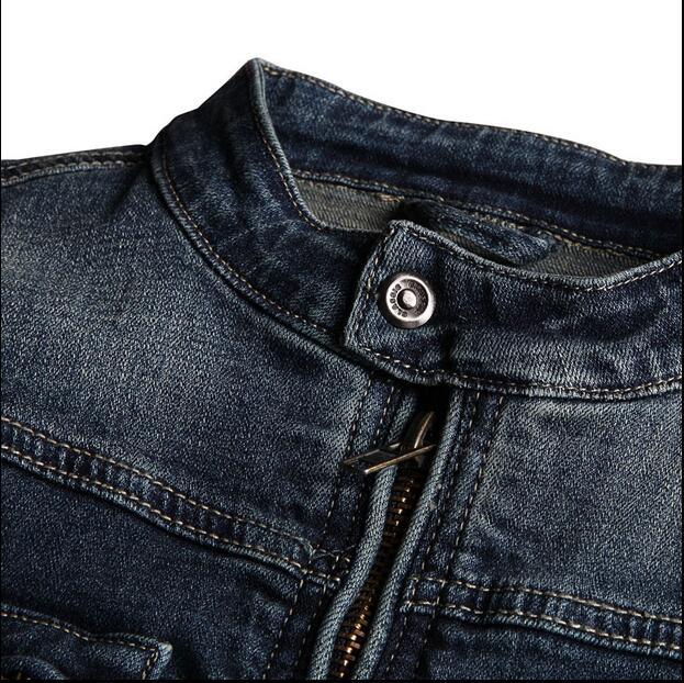 2016 new hot spring autumn Men Jeans Jacket Overcoat Parkas coat Motorcycle Retro Slim short plus size 2XXL cotton dark blue