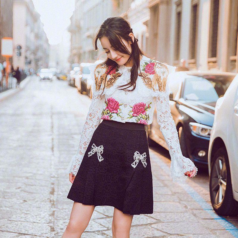 see Broderie Avec See Jupe E1014 Femelle Fleur Manches Trompette Chart Supérieur Bourgeon Vêtement Doublure Costumes Chart Soie Sans Blanc Nouveau Noir FxSHH