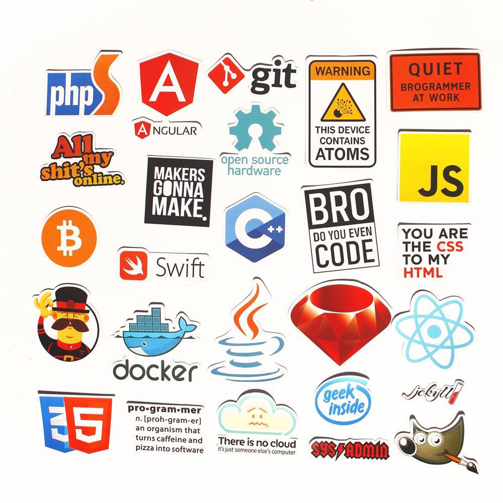 33pcs Pvc Waterproof Internet theme Sticker For Geek programmer cloud data Represent yourself java C phpStickers in Stickers from Toys Hobbies