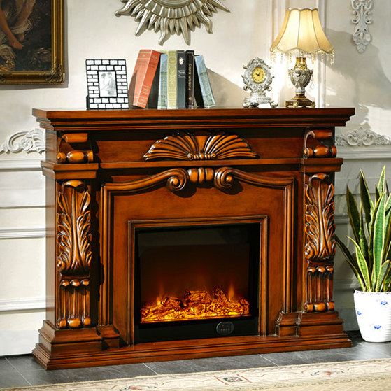 Englisch Stil Kamin Set W160cm Geschnitzte Holz Kaminsims Elektrokamineinsatz Wohnzimmer Warmluftgeblse LED Optische Flamme