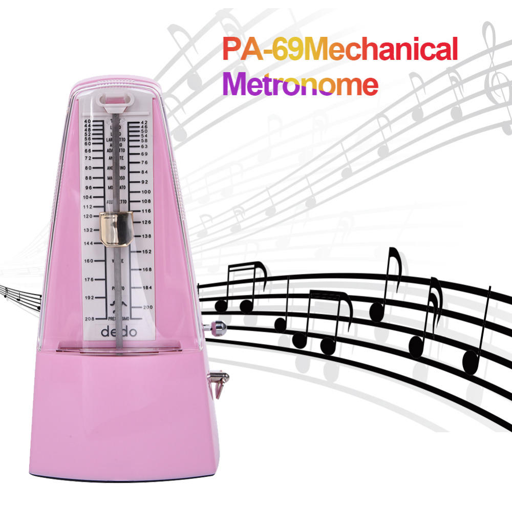 Pink Mechanical Metronome for Piano Guitar Bass Violin and Other More Musical Instruments 40-210 BMP Use Plastic+Metal