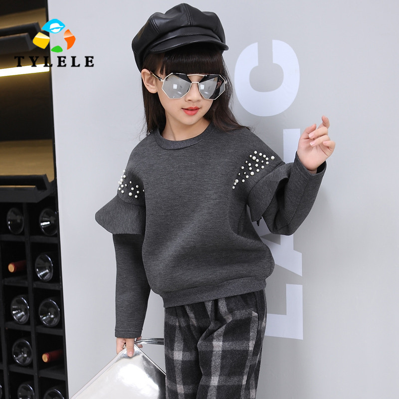 ФОТО 2017 New Girls Clothing Sets Vetement Enfant Fille Spring Winter Baby Sets Tracksuits Kids Suits Sweatshirts + Pants 7 9 13 Year