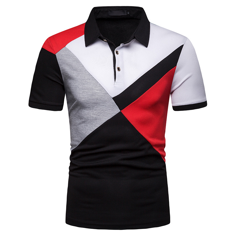 Miicoopie New Men's Short-sleeved Colorblock   Polo   Shirt Personalized Print   Polo   Shirt