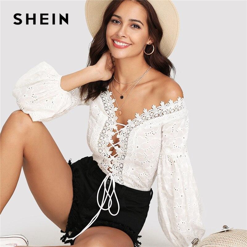 SHEIN Lace Trim Plunge cuello ojal bordado Bodysuit 2018 verano obispo manga Deep V cuello Romper mujeres blanco Sexy Bodysuit