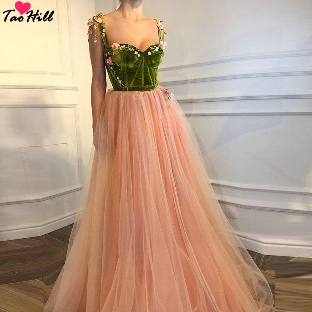TaoHill Long Dress for Evening Dresses Women A line Sweetheart Neck Straps Green Velvet Flower Applique Pink Dress