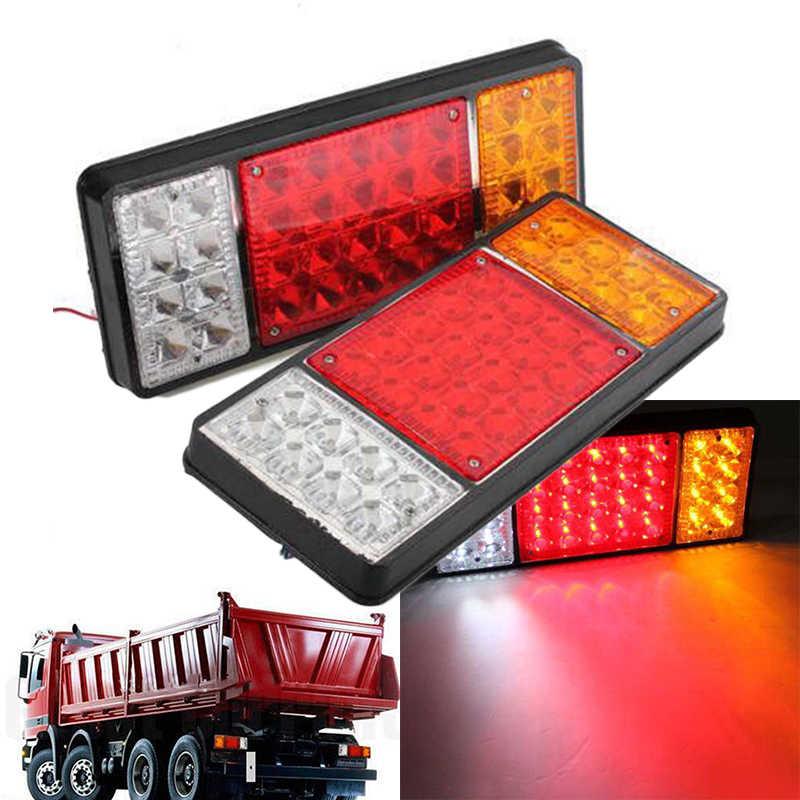 עמיד הלם רכב LED אורות מלבן 24V DC 36LED חלקי טאיליט הפוך מנורות קרוואן משאית