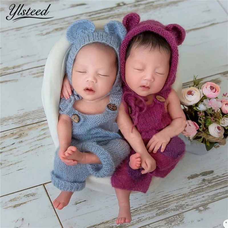 2Pcs Set Newborn Photography Props Soft Mohair Baby Hat Outfit Set Crochet Newborn Shooting Costume Baby Photo Props Accessories crochet baby costume set knit rabbit hat newborn photography props carrot hat pants 3 pieces set baby photo shoot accessories