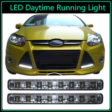 Super Bright with 8 LED Daytime Running Lights Driving Set DRL Car Fog Lamp Waterproof DC12V with Fixed Iron Plates 2PCs/Pair