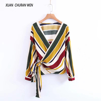 XUANCHURANWEN 2017 Wrap Top Women Lace Up Blouse Long Sleeve Striped Blouse V Neck Casaul Spring