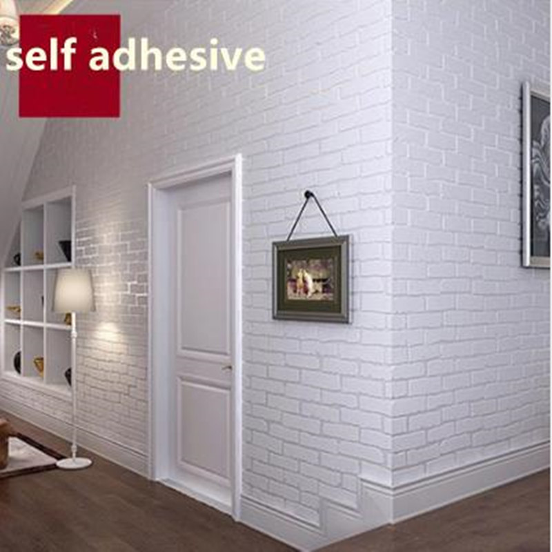 PVC 3D Wallpapers Brick Stone Wallpapers Rolls White Modern Wall Papers for Living Room Home Decor Walls Coverings Vinyl Papers цена