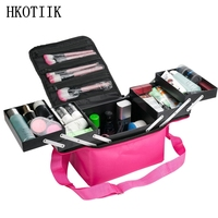 Fashion Women's Makeup Cosmetic Case Case Beauty Salon Tattoo Manicure Toolbox Large Capacity Multilayer Clapboard Cosmetic Bag