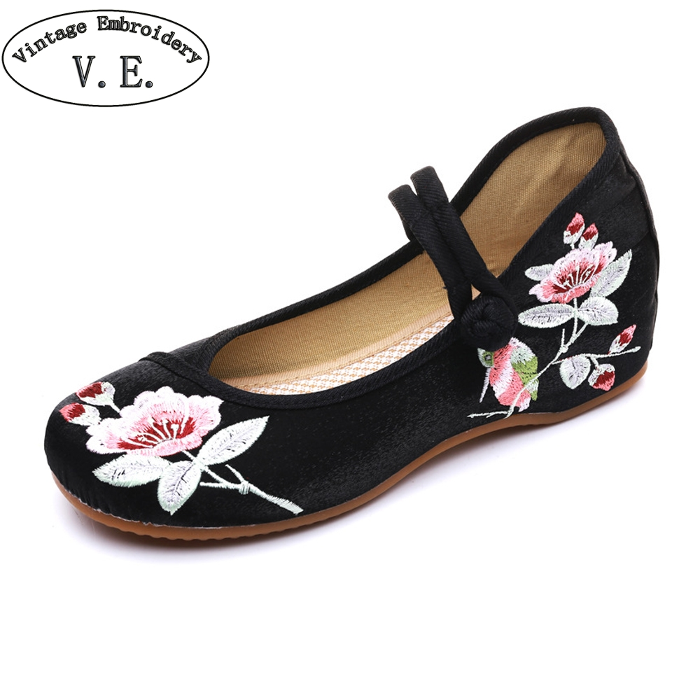 Woman Embroidery Shoes Old Peking Cloth Shoes Chinese Casual Dancing Flats Soft Sole Mary Jane Flat Plus Size 41 Zapatos Mujer mix style women s shoes old peking mary jane flat heel denim flats with embroidery soft sole casual shoes size 34 41