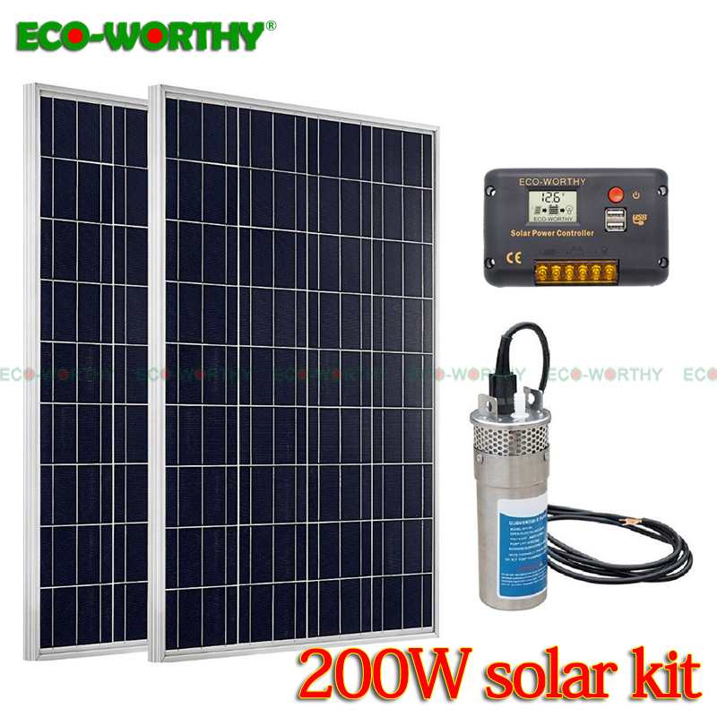 200w Solar Power Pump System: 2pcs 100w Poly Solar Panel & 24v Deep Well Steel Submersible Water Pump & 20a Cmg Controller Home
