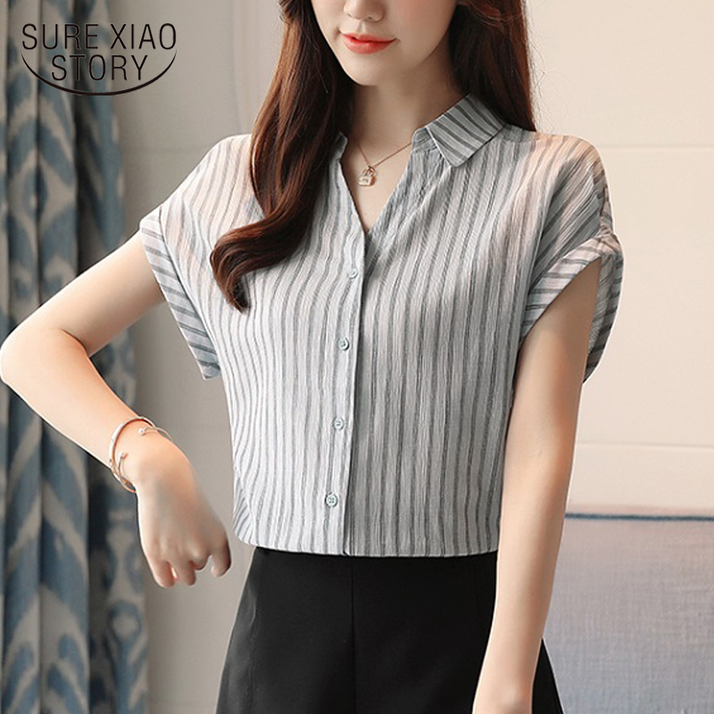 01ca4134ae New 2018 Summer Office Lady Casual Korean Women Blouses Shirts Elegant  Vertical Stripe Short Sleeve Female Tops Blusa 0238 40