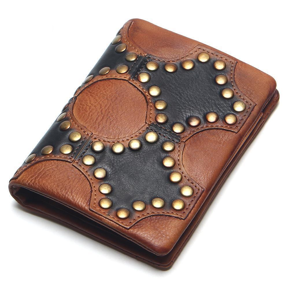 Women And Men Genuine Leather Short Wallet Rivet Multifunctional Wallet Billfold Multi Card Position Holders Coin Purse 2016 new arriving pu leather short wallet the price is right and grand theft auto new fashion anime cartoon purse cool billfold