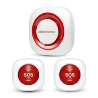 KOOCHUWAH GSM 경보 시스템 SOS 비상 경보 무선 공황 버튼 SMS 노인 경보 보안 임신/환자/장애인을위한|알람 시스템 키트|   -