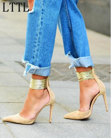 Newest Hottest Selling Beige Suede Leather Pointed Toe High Heels Gold Ankle Fashion Shallow Zipper Back Women Elegant Pumps