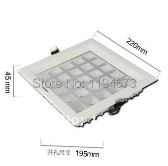 Оптовая продажа Бесплатная доставка 25 Вт ультра тонкий квадратная сетка Алюминий Встраиваемый светодиодный Решетка лампы кухня для ванной...