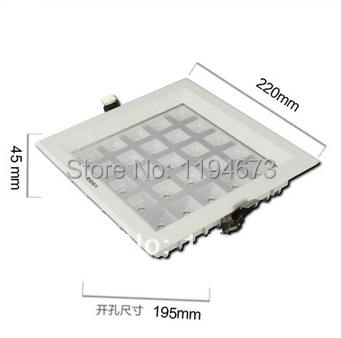 ФОТО Wholesale Free shipping 25W Ultra Thin Square Grid Aluminum Recessed LED Grille Lamp kitchen bathroom Down lights AC85-265V
