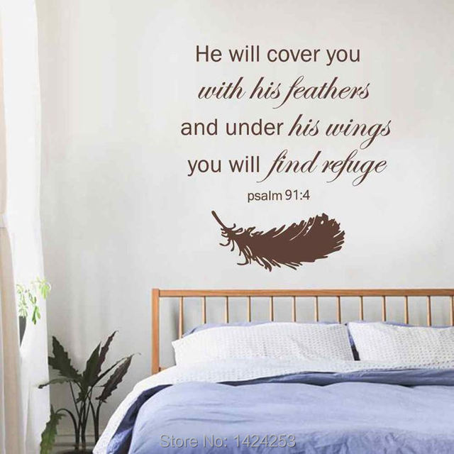 BATTOO Large Wall Decals Psalm 91:4 Bible Verse   Feathers Stickers Family  Vinyl Religious