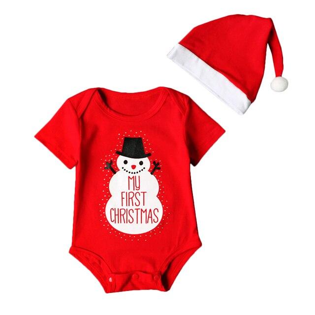 00ac020a1 Nuevo Bebé Navidad muñeco ropa rojo mi primera Navidad letra impresa Traje  + Cap 2 unids