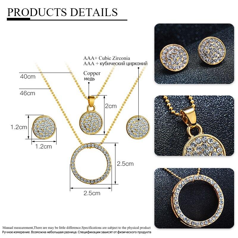 Crystal Round Shape Jewelry Set Jewelry Jewelry Sets Women Jewelry