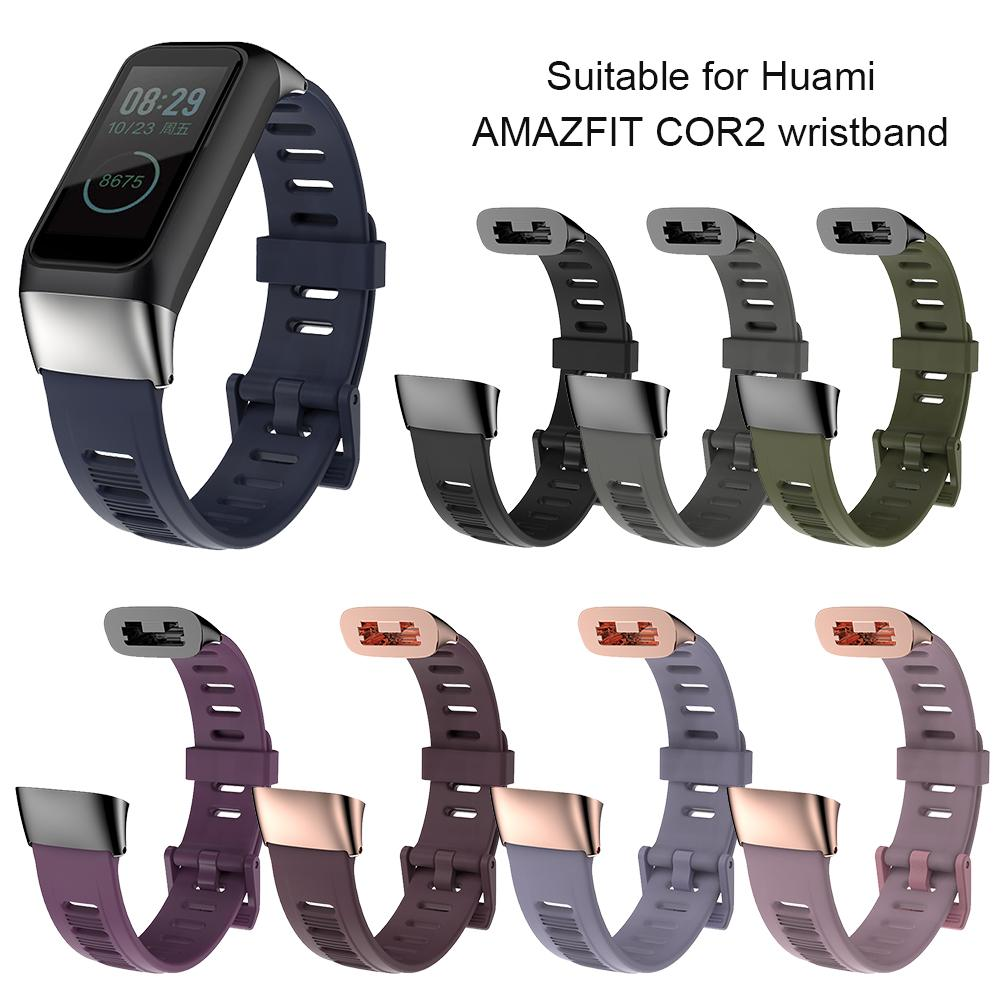 Silicone Watch Strap Replacement Wrist Straps Flat Hole Wristband For Huami <font><b>Amazfit</b></font> <font><b>Cor</b></font> <font><b>2</b></font> <font><b>Bracelet</b></font> TPU Watch Bands Accessories image