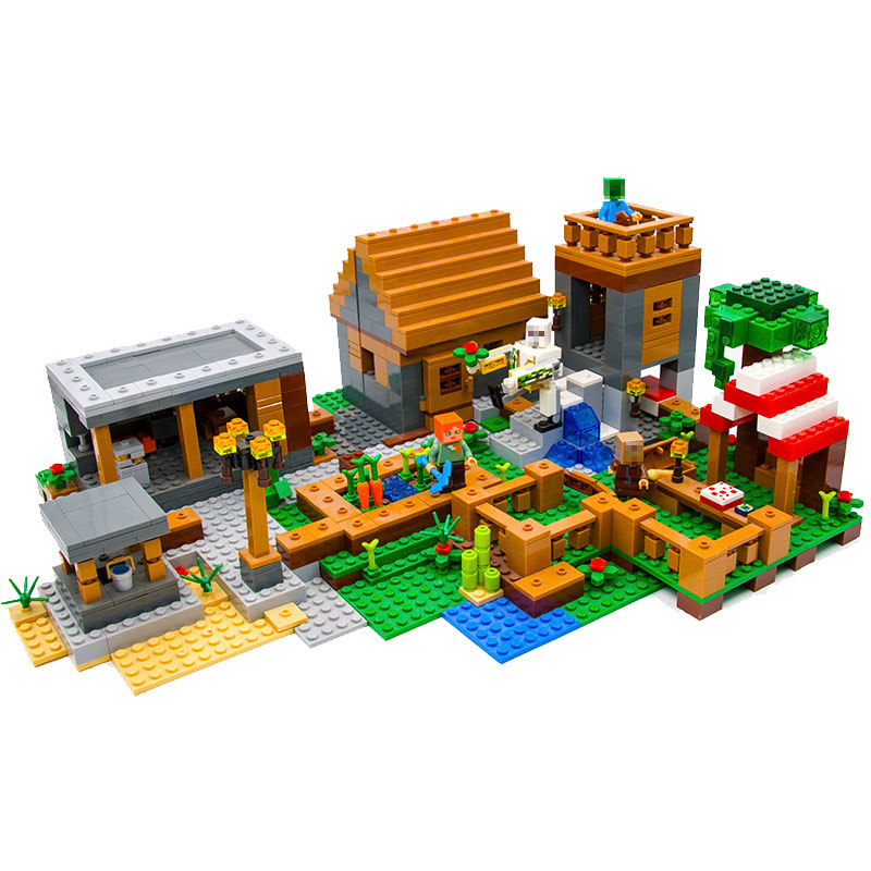 Upgraded Minecrafted 18010 The Village 1106Pcs My World Building Blocks Toys Children For Legoing 21128 lepin 1106pcs my world minecraft the village model kits action anime figures building blocks bricks fun toys for children gifts