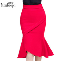 Hot Sale Women Skirts Plus Size High Waist Bodycon Skirt Black Red Elegant Office Ladies Ruffles