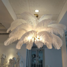 New feather chandeliers creative villa model room art living room decoration lamp lustres de cristal