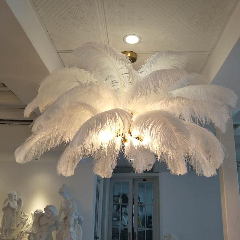 Nouvelle plume lustre créatif villa modèle chambre art salon décoration lampe