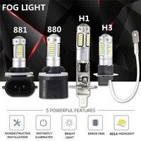 2pcs 4014 LED H27 880 881 H1 H3 Auto Car Light LED Headlights Headlamp Bulb Fog