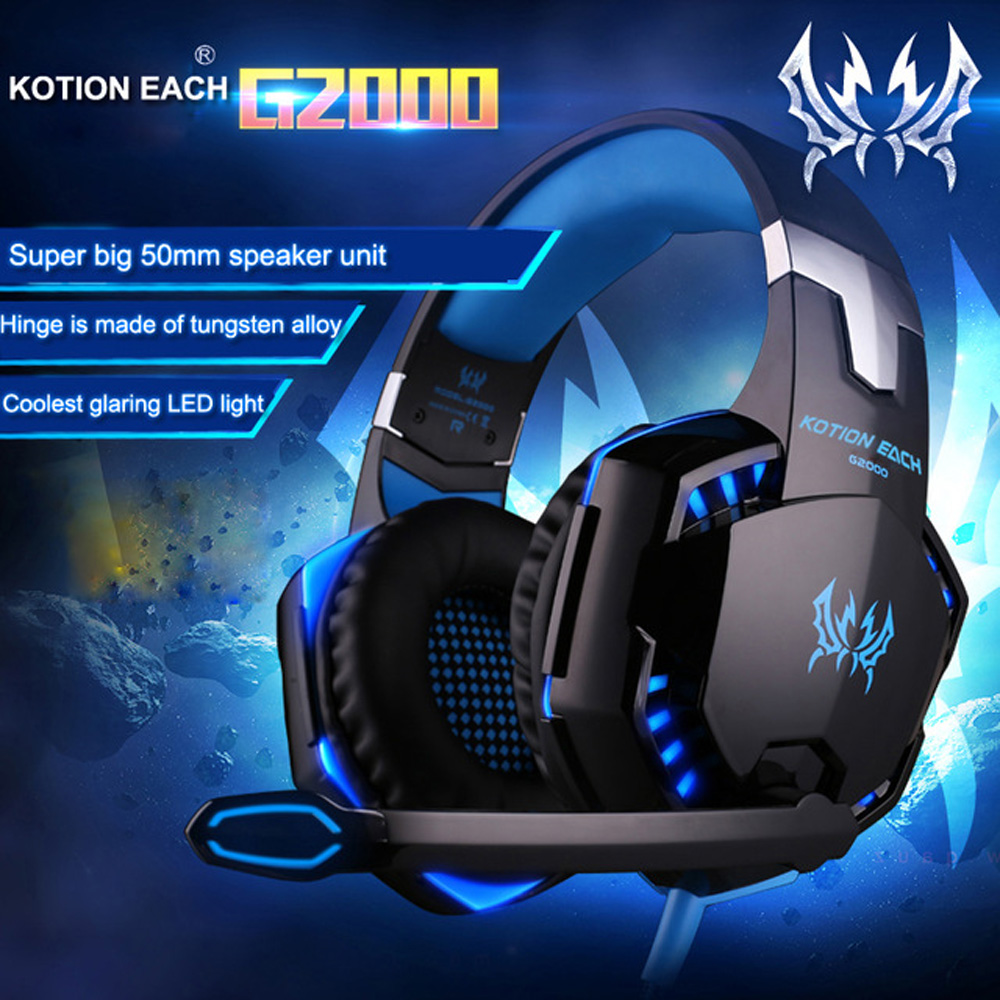 Gaming Headset PC Gamer G2000 Noise Cancelling LED Game Headphone Glow Stereo Bass With Mic For PC Gamer Casque Game Earphone