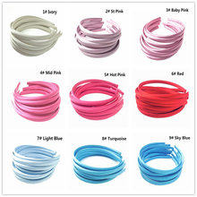 10Pcs/lot 10mm 30 Colors Solid Color Satin Fabric Covered Resin Hairband Ribbon Adult Girls Headband Kids DIY Hair Accessories
