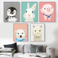 Modern Cute Animals Penguin Pigs Bear Aluminum Metal Frame Print Canvas Drawing Nordic Photo Frame Christmas Home Decoration