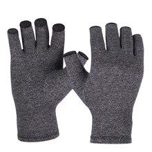 Мужские и женские, облегчающие боль, дышащие, для здоровья рук, твердые, ревматоидные, защитные, эластичные, компрессионные перчатки при артрите, черные, половина пальца