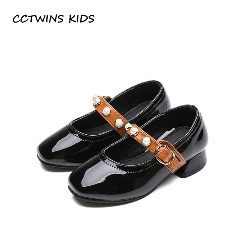 CCTWINS KIDS 2018 Autumn Children Princess Party Heel Baby Pu Leather Shoe Girl Brand Pearl Dance Mary Jane Toddler GH1717 wendywu new kids leather shoes baby girls fashion dress mary jane for children pu leahter court shoe kid brand dance heel shoe