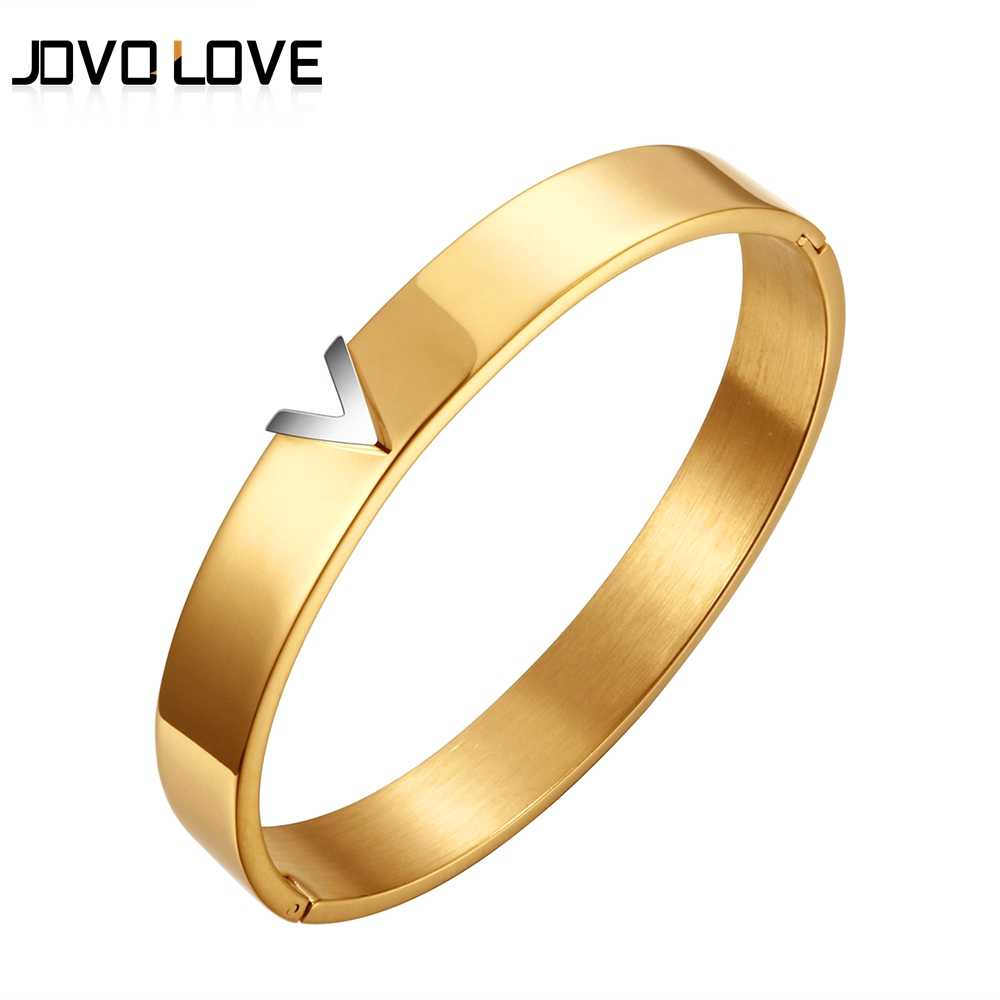 Trendy V Shape Stainless Steel Bracelets & Bangles For Women Female Jewelry Three Color Steel Bangles Gift Pulseiras