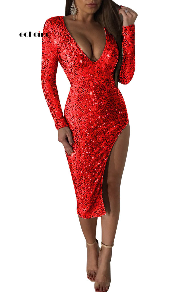 <font><b>Christmas</b></font> Evening Party <font><b>Dress</b></font> Women Night Club Sequin Flake <font><b>Dress</b></font> V-neck <font><b>Sexy</b></font> Bodycon Midi <font><b>Dress</b></font> <font><b>Red</b></font> Gold Elegant Ladies Clothes image