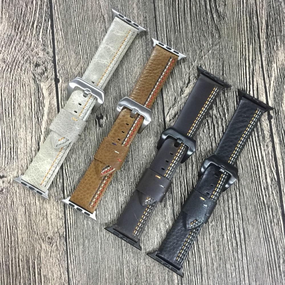 все цены на For Apple Watch Series 1 2 3 Strap For iWatch Belt For Panerai Style High Quality Handmade Retro Leather Band 38mm-42mm онлайн