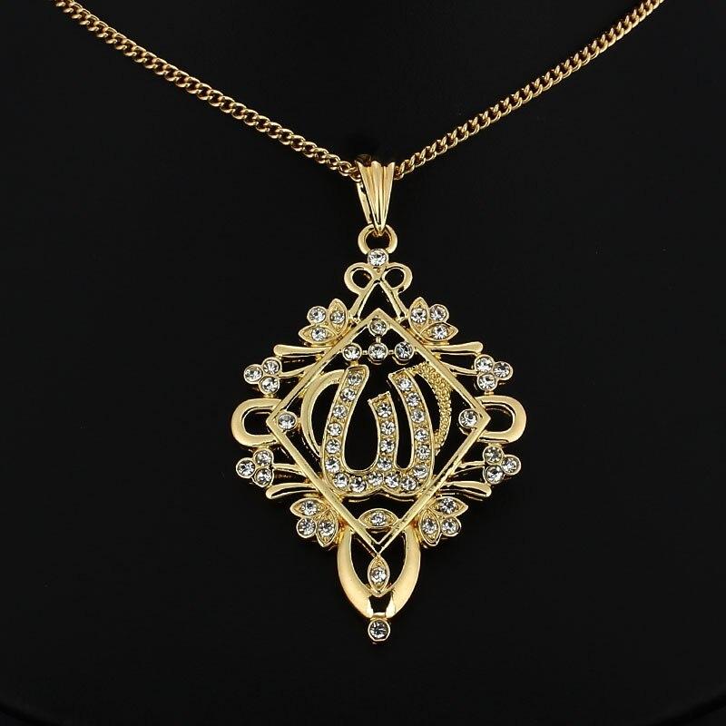 Damen Kette Allah Muslim Strass Kristall Anhänger Halskette Schmuck Gold Silber