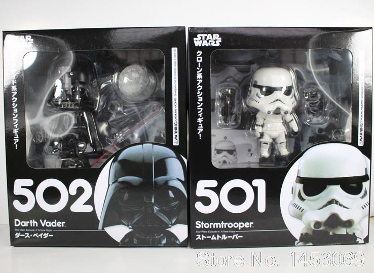 цены  Cute Nendoroid Star Wars The Force Awakens Stormtrooper #501 Darth Vader #502 PVC Figure Collectible Model Toy 4