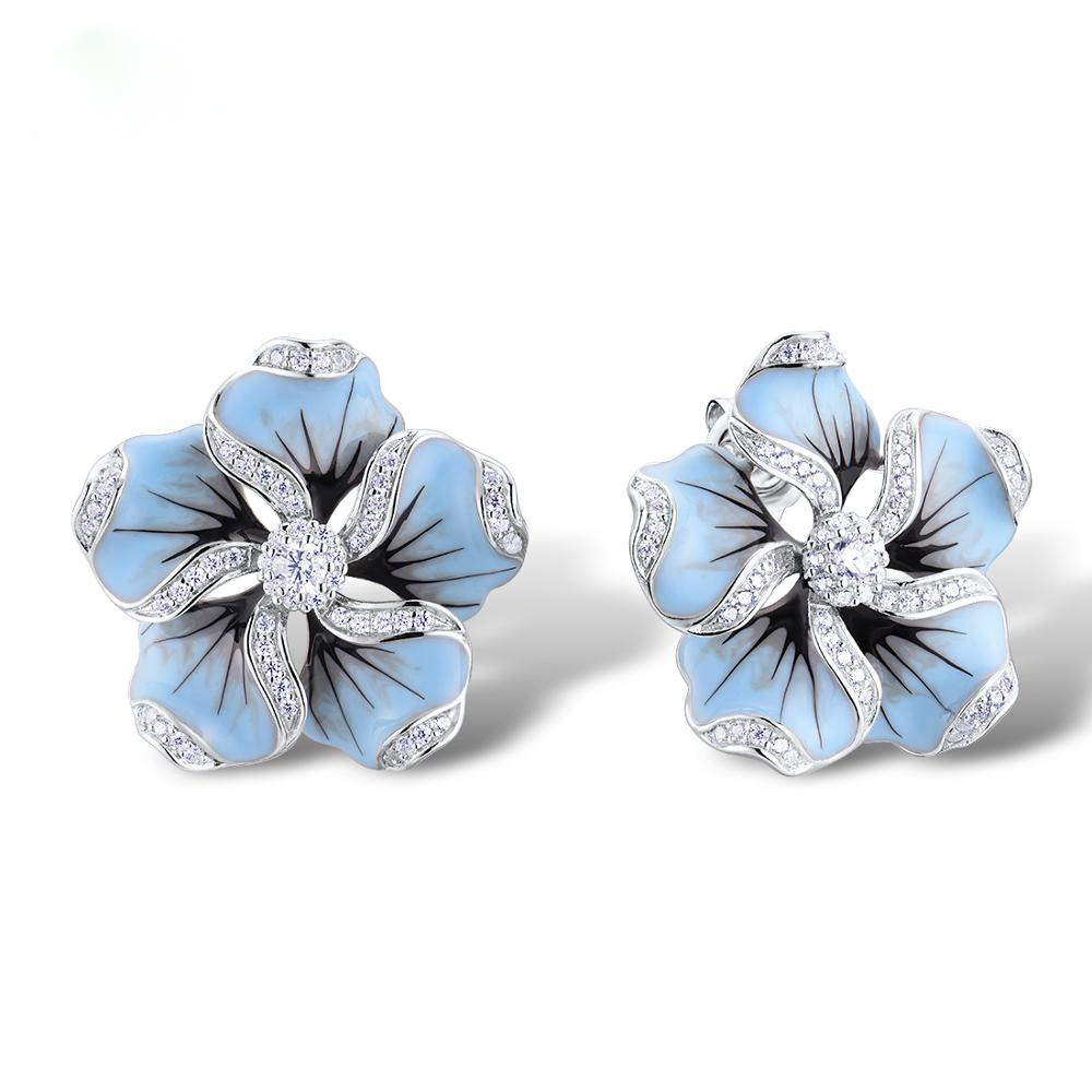 New Elegant Ladies Shiny Zircon Crystal Blue Lotus Tree Stud Earrings Wedding Jewelry Gifts