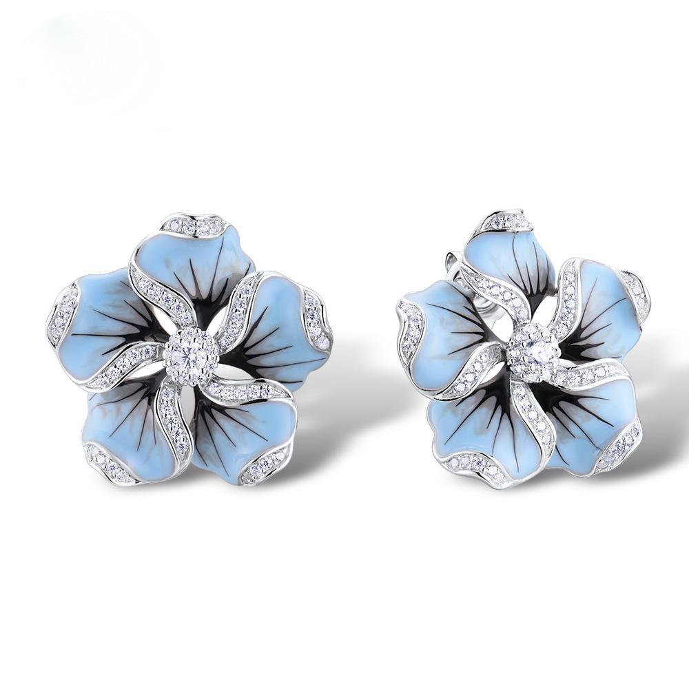 New Elegant Ladies Shiny Zircon Crystal Blue Lotus Tree Stud Earrings Wedding Jewelry Gifts